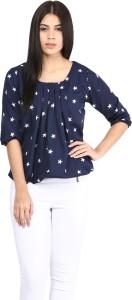Mayra Casual Balloon Sleeve Printed Women's Dark Blue Top