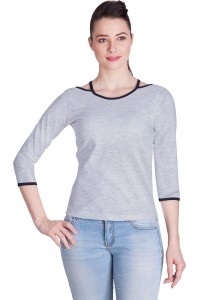 Veakupia Casual 3/4th Sleeve Solid Women's Grey Top