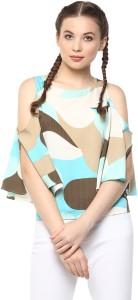 Harpa Casual 3/4th Sleeve Self Design Women's Light Green Top
