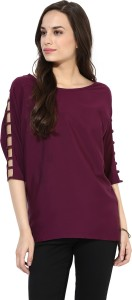 Calgari Casual Full Sleeve Solid Women's Purple Top