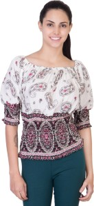 Khhalisi Party 3/4th Sleeve Printed Women's White Top