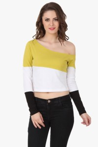 Texco Party Full Sleeve Solid Women's Yellow, White Top