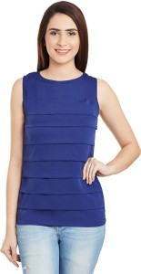 Miss Chase Casual Sleeveless Solid Women's Dark Blue Top