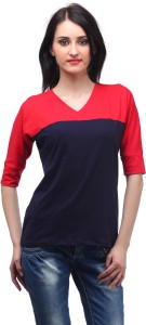 Cation Casual 3/4th Sleeve Solid Women's Red Top
