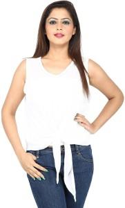Secret Bazaar Casual Sleeveless Solid Women's White Top