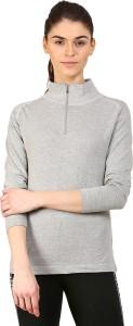 Ap'pulse Solid Women's Mock Neck Grey T-Shirt