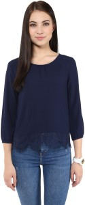 Harpa Casual 3/4th Sleeve Solid Women's Dark Blue Top