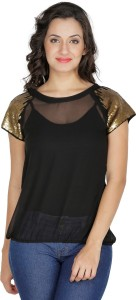 Mayra Party Short Sleeve Solid Women's Black Top
