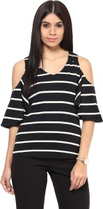 Hypernation Casual Cap Sleeve Striped Women's Black Top