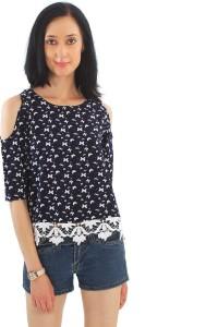 Good Fashion Casual 3/4th Sleeve Printed Women's Dark Blue Top