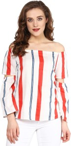 Sassafras Casual 3/4th Sleeve Striped Women's Multicolor Top
