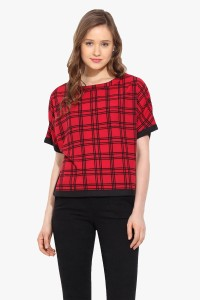Saiesta Casual 3/4th Sleeve Checkered Women's Red Top