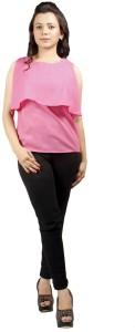 AutoKraftZ Casual Sleeveless Solid Women's Pink Top