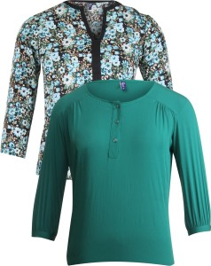 Vvoguish Casual 3/4th Sleeve Printed Women's Green, Green Top
