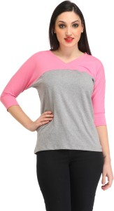 Cation Casual 3/4th Sleeve Solid Women's Grey, Pink Top