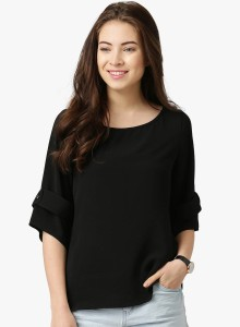 YUKON Casual 3/4th Sleeve Solid Women's Black Top