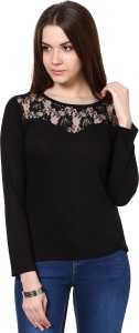 Golden Couture Casual Full Sleeve Self Design Women's Black Top