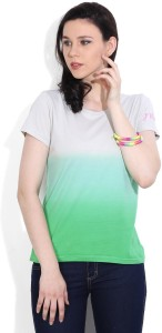 United Colors of Benetton Casual Short Sleeve Solid Women's Grey, Green Top