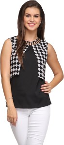 Eavan Casual Sleeveless Geometric Print Women Black Top