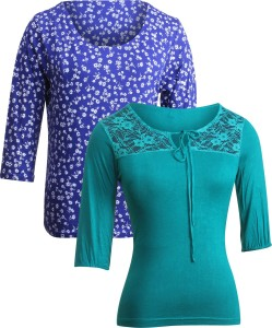 Vvoguish Casual 3/4th Sleeve Floral Print Women's Blue, Green Top
