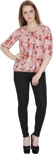 Rashi Creation Party 3/4th Sleeve Floral Print Women's Pink Top