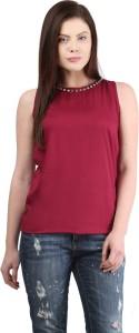 Mayra Casual Sleeveless Solid Women's Maroon Top