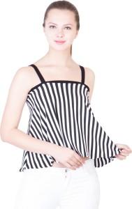 khhalisi Party Shoulder Strap Striped Women's White, Black Top