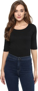 Miss Chase Casual Short Sleeve Solid Women's Black Top