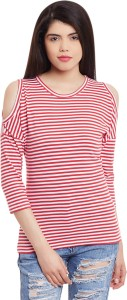Hypernation Casual 3/4th Sleeve Striped Women's Red Top