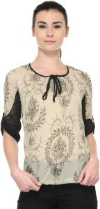 Tunic Nation Casual 3/4th Sleeve Floral Print Women's Beige Top