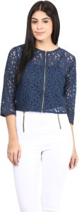 Mayra Casual 3/4th Sleeve Solid Women's Dark Blue Top