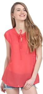 Moda Elementi Casual Short Sleeve Self Design Women's Red Top