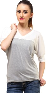 Cation Casual 3/4th Sleeve Solid Women's Grey, White Top