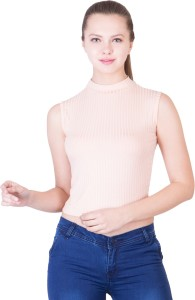 khhalisi Casual Sleeveless Solid Women's Pink Top