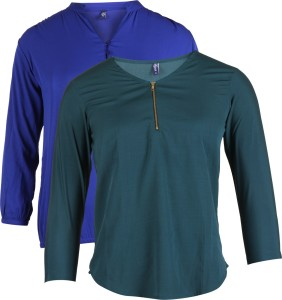 Vvoguish Casual 3/4th Sleeve Solid Women's Blue, Green Top