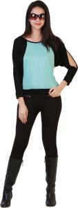 Belle Fille Casual Full Sleeve Solid Women's Light Blue, Black Top
