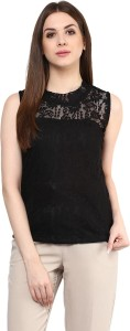 Mayra Party Sleeveless Solid Women's Black Top