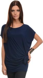 Mayra Casual Short Sleeve Solid Women's Dark Blue Top