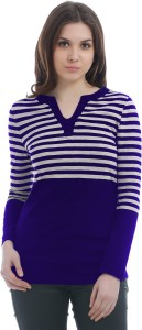 Texco Casual Full Sleeve Striped Women's Blue, White Top