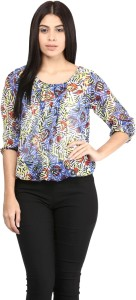 Mayra Casual 3/4th Sleeve Printed Women's Multicolor Top