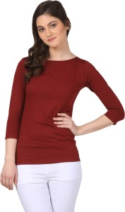 Fashion Expo Casual 3/4th Sleeve Solid Women's Maroon Top