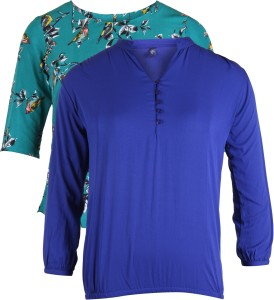 Vvoguish Casual 3/4th Sleeve Solid Women's Blue, Multicolor Top