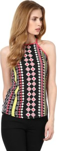 Harpa Casual Sleeveless Printed Women's Multicolor Top