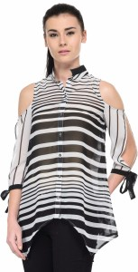 Tunic Nation Casual 3/4th Sleeve Striped Women's Black, White Top