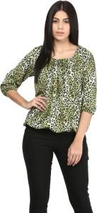 Mayra Casual 3/4th Sleeve Printed Women's Green Top