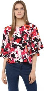 Harpa Casual Petal sleeve Floral Print Women's Multicolor Top