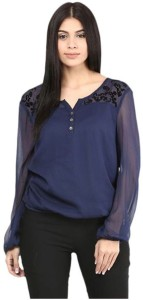 Myshka Casual Full Sleeve Embroidered Women's Blue Top