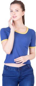 Khhalisi Party Short Sleeve Printed Women's Blue Top