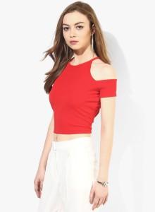 c9766a900f93e2 Veni Vidi Vici Casual Short Sleeve Solid Women s Red Top Best Price in  India
