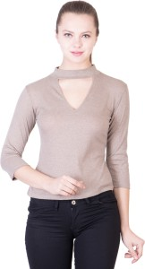 khhalisi Casual 3/4th Sleeve Solid Women's Brown Top